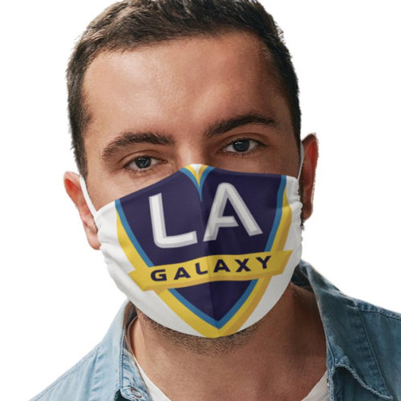 LA Galaxy Reusable Face Mask, Cotton Washable Face Mask with Adjustable Straps