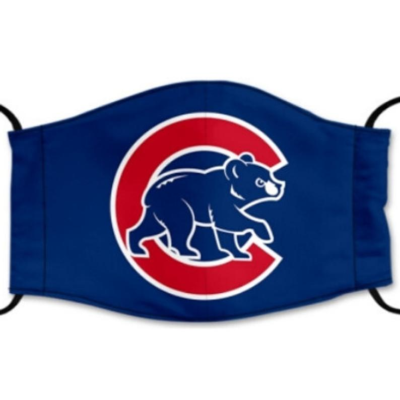 Chicago Cubs Reusable Cotton Face Mask, Washable Face Mask with Adjustable Straps