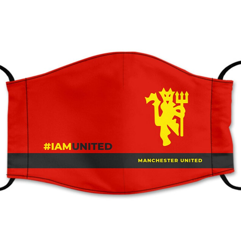 Manchester United Reusable Face Mask, Cotton Washable Face Mask with Adjustable Straps, Design 2