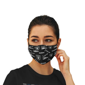 Las Vegas Raiders Cotton Face Mask Reusable & Washable, Checkered Pattern, With Adjustable Ear Straps