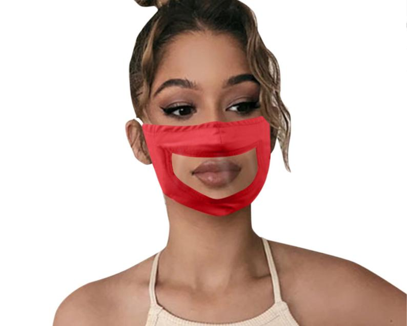 Clear Anti Fog Vinyl Lip Reading Face Mask, See Through Face Mask With Adjustable Ear Straps, Solid Color Design