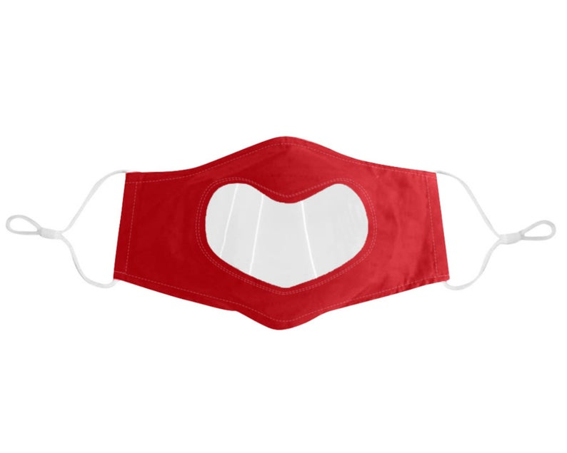 Clear Anti Fog Vinyl Lip Reading Face Mask, See Through Face Mask With Adjustable Ear Straps, Heart Shape Design