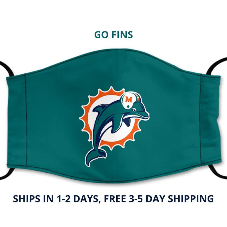 Miami Dolphins Reusable Face Mask, Washable Cotton Face Mask with Adjustable Straps