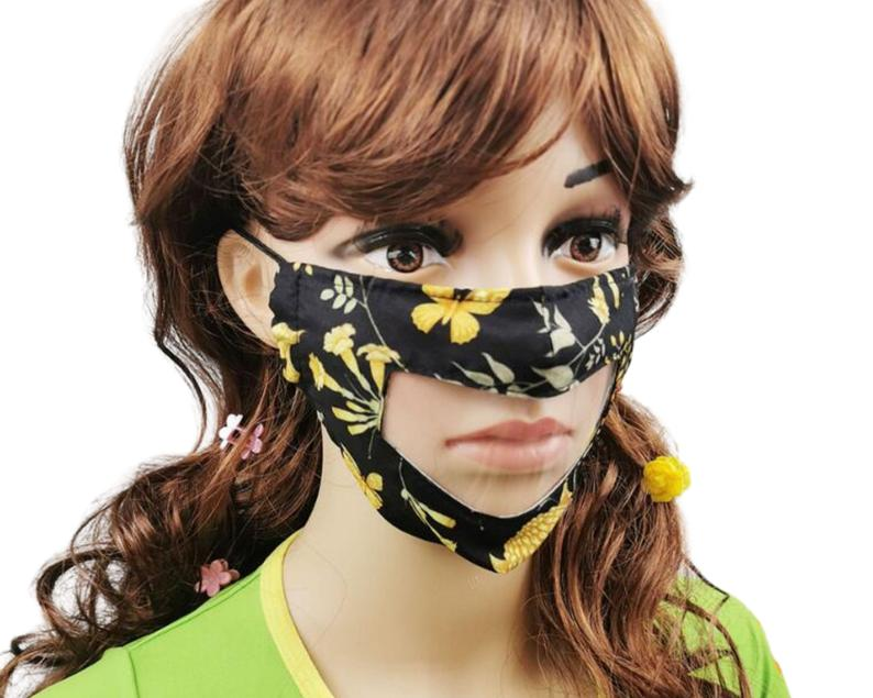 Clear Anti Fog Vinyl Lip Reading Face Mask, See Through Face Mask With Adjustable Ear Straps, Flower Design