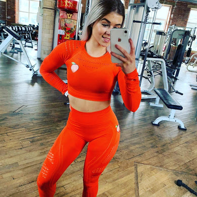 Neon Peachy Cropped Top and Leggings Set