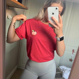 Peachy Washed Red Boyfriend Fit Tee