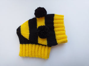 Knitted bee cap for small dog with handmade pompoms - dachshundknit