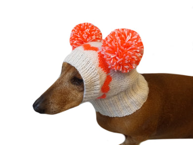 Knitted hat for dog with hearts and two pompons - dachshundknit
