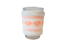 Load image into Gallery viewer, Knitted sweater for cups Heart, case for cup, case for heating cups