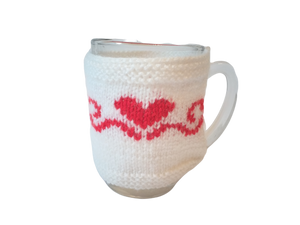 Knitted sweater for cups Heart, case for cup, case for heating cups