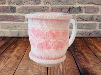 Knitted sweater for cups for Valentine's Day, cover for cup, cover for heating cup