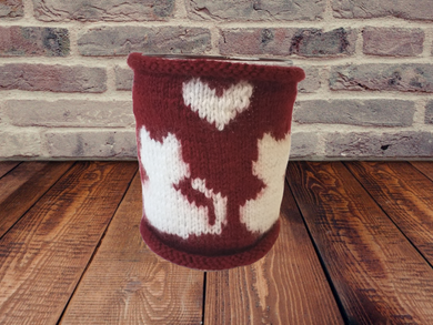 Handmade knitted sweater Cat's cup warmer