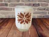 Christmas knitted sweater cup warmer Handmade snowflake