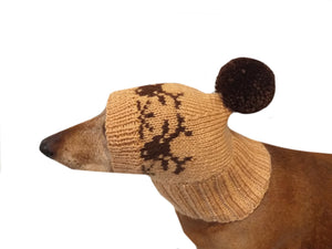 Christmas hat with deer for dog with pompom