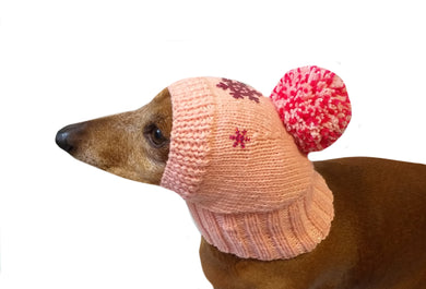 Dachshund christmas snowflake hat with big pompom, christmas clothes dachshund, miniature dachshund