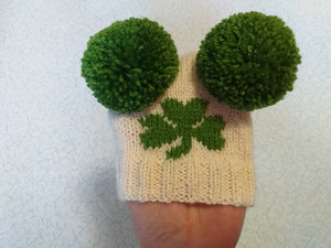 Hat with clover for dog with two pompons, hat clover for dachshund, St. Patrick's Day hat with clover for dog