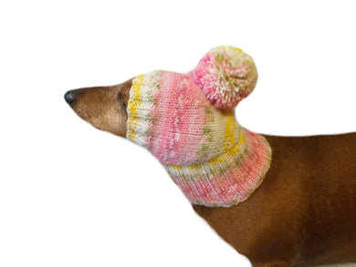 Knitted dachshund hat with big pompom, doxie clothes, doxie hat
