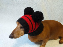Load image into Gallery viewer, Black hat with red stripes for dog with two pompoms