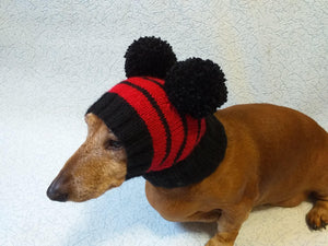 Black hat with red stripes for dog with two pompoms