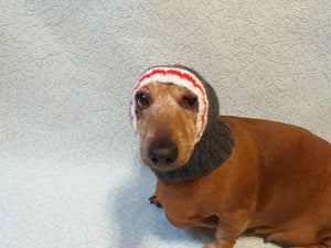 Gray striped knitted warm hat for dog