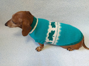 Dachshund clover clothing St. Patrick's Day, dog clover sweater