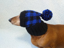 Load image into Gallery viewer, Knitted check hat for dachshund or small dog