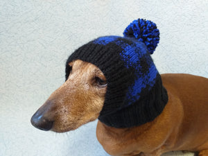 Knitted check hat for dachshund or small dog