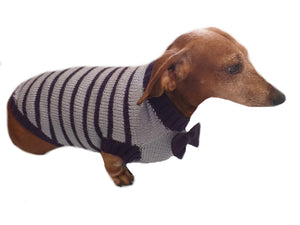 Purple striped knitted bow sweater for dachshund or small dog