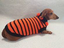 Load image into Gallery viewer, Orange and black striped knitted sweater with pompoms for dachshund or small dog