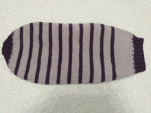 Load image into Gallery viewer, Purple striped knitted bow sweater for dachshund or small dog