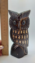 Load image into Gallery viewer, Owl wooden handmade figurine, owl, statuette of an owl, owl of wood