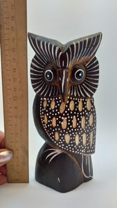 Owl wooden handmade figurine, owl, statuette of an owl, owl of wood
