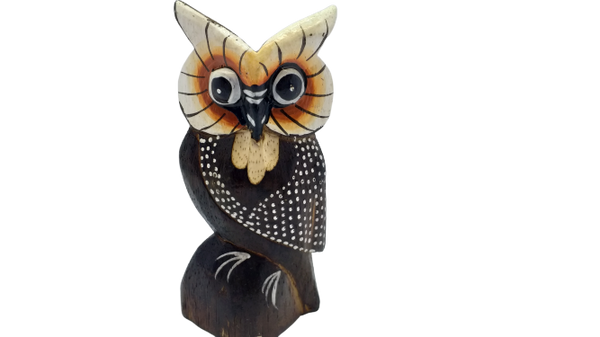 Handmade wooden figurine decor owl