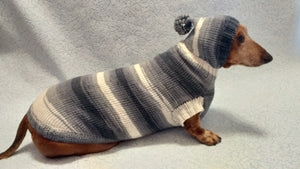 Sweater with hood for dachshund or small dog, sweatshirt knitted for dog