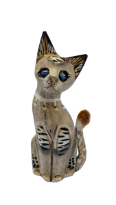 Wooden cat figurine, decorative cat, wooden cat, cat home decor