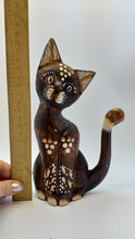 Load image into Gallery viewer, Wooden cat figurine, decorative cat, wooden cat, cat home decor
