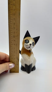 Handmade wooden cat figurine