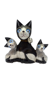 Family of cats made of wood handmade figurine
