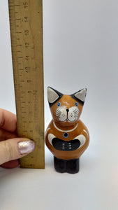 Wooden cat handmade figurine