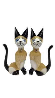 Pair of lovers cats made of wood handmade figurine