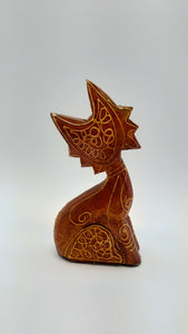 Handmade wooden figurine cat
