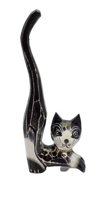 Wooden cat figurine with long tail jewelry stand