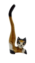 Load image into Gallery viewer, Wooden cat figurine with long tail jewelry stand