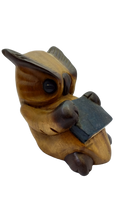 Load image into Gallery viewer, Wooden owl figurine with a book