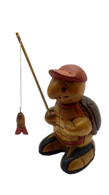 Figurine wooden turtle fisherman