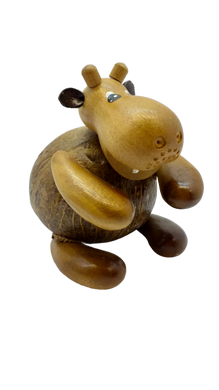 Wooden piggy bank figurine hippopotamus