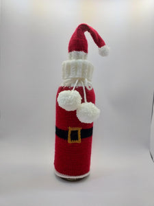 Bottle Decor Santa Christmas Sweater with Hat, Wine Accessories, Knit Bottle, Wine Decor, Bottle Sweater, Gift Wine Bottle, Wine Cabinet