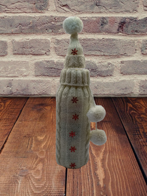 Bottle Decor Santa Christmas Sweater with Hat, Wine Accessories