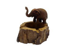 Load image into Gallery viewer, Wooden figurine ashtray elephant