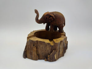 Wooden figurine ashtray elephant